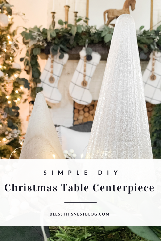 simple diy Christmas table centerpiece blog banner