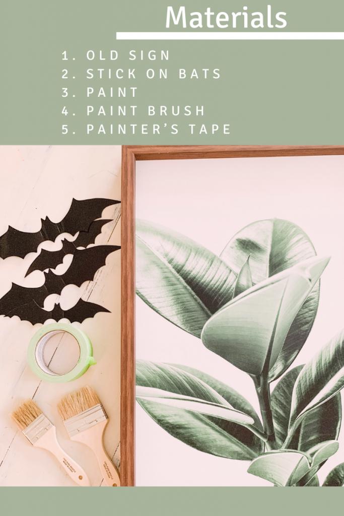 list of materials for diy bat sign