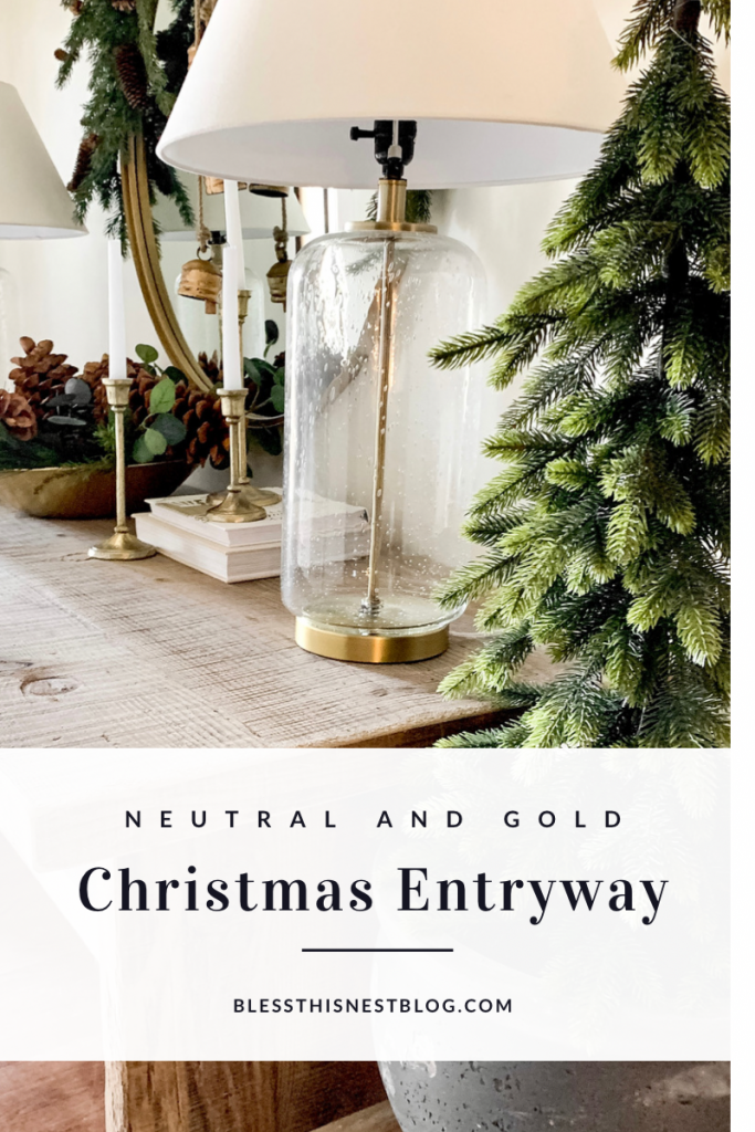 neutral and gold Christmas entryway blog banner