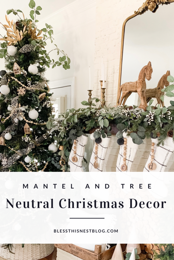 white and gold Christmas tree and mantel decor blog banner