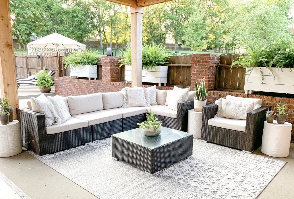 outdoor sectional under covered porch