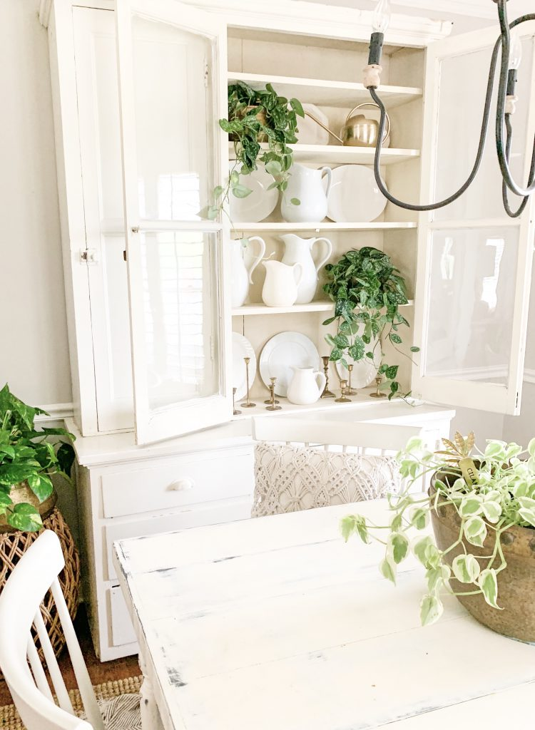 farmhouse hutch open in dining room