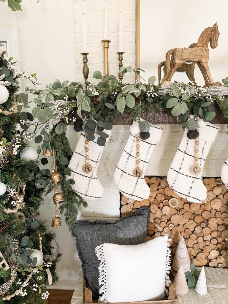 closeup of white plaid stockings on mantel