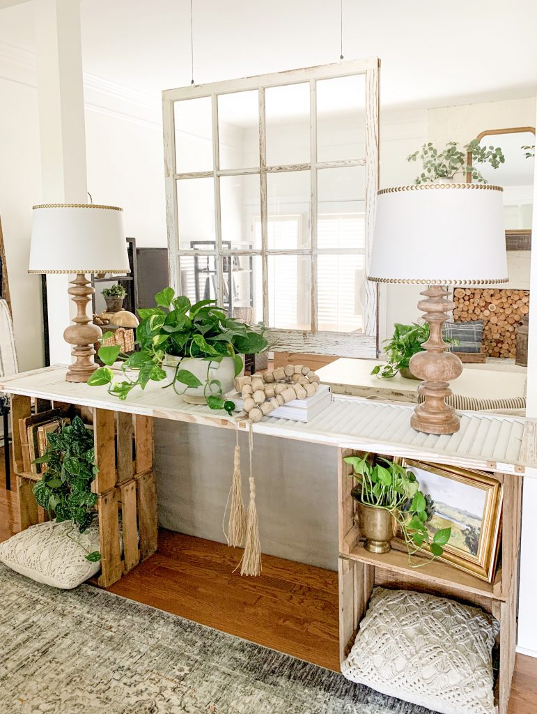 crate and shutter console table