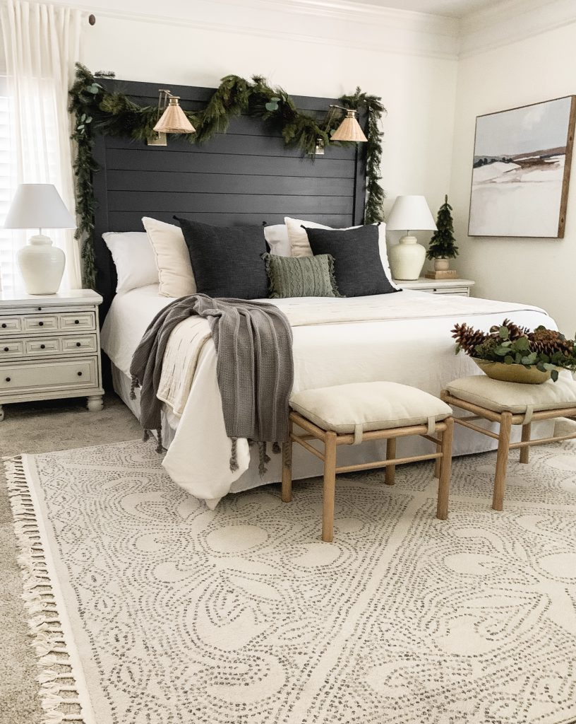 full view of master bedroom decorated for Christmas