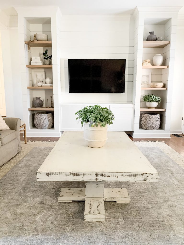 coffee table in living room with plant centerpiece